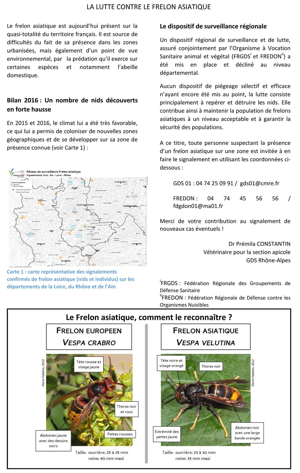 PLAN DE LUTTE REGIONAL CONTRE LE FRELON ASIATIQUE
